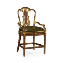 Neo-Classical Gilded Lyre Back Bar Stool Armchair, Upholstered in Green Leather