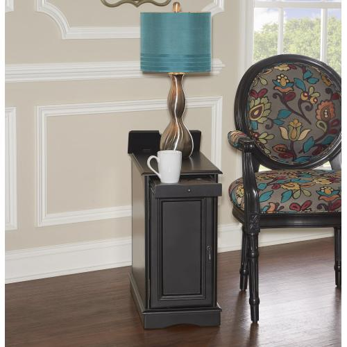 1-door With Usb and Electrical Charging Station Accent Table, Black