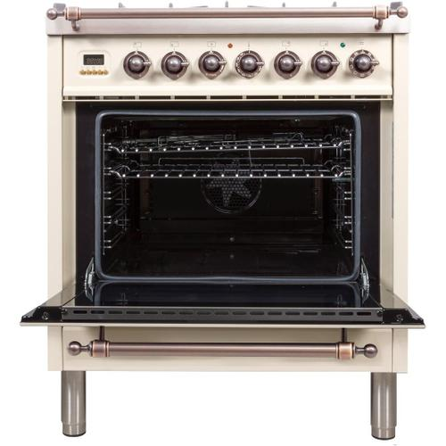 Nostalgie 30 Inch Dual Fuel Natural Gas Freestanding Range in Antique White with Bronze Trim