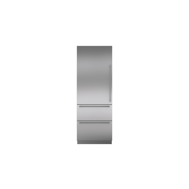 """Integrated Stainless Steel 30"""" Tall Door Panel with Tubular Handle - Left Hinge"""
