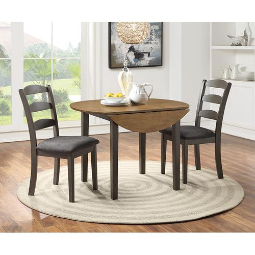Murphy 3-pc Dining Set With Antique Natural Top and Grey Base