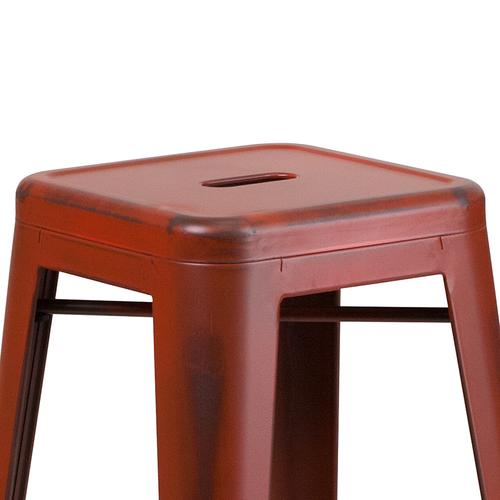 """Commercial Grade 30"""" High Backless Distressed Kelly Red Metal Indoor-Outdoor Barstool"""