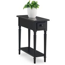 Swan Black Coastal Narrow Chairside Table with Shelf #20017-BK