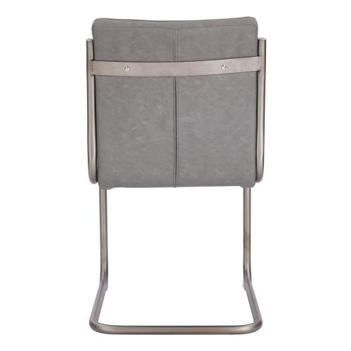 Cooper PU Dining Side Chair Silver Frame, Antique Graphite Gray