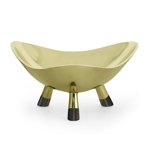 Medium Triangular Antique Light Brass Dish