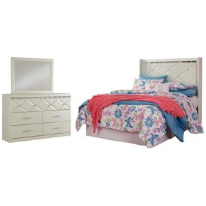 Full Panel Headboard With Mirrored Dresser