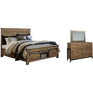 California King Panel Bed With Storage With Mirrored Dresser