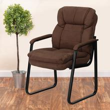 View Product - Brown Microfiber Executive Side Reception Chair with Lumbar Support and Sled Base