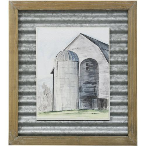 Style Craft - WEATHERED BARN I  14in X 16in  Made in the USA  Textured Framed Print