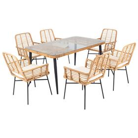 Beson 7pc Dining Set - Natural / White Cushion