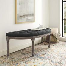 Esteem Vintage French Upholstered Fabric Semi-Circle Bench in Gray