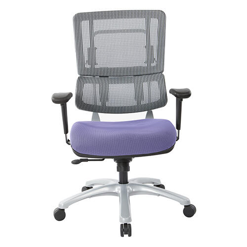 Vertical Grey Mesh Back Chair With Silver Base