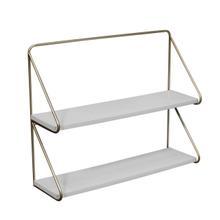 "Metal /wood 20"" 2 Tier Wall Shelf, White/gold"