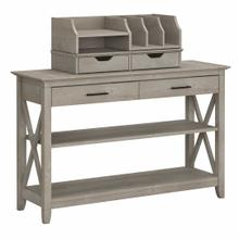 See Details - Console Table with Storage and Desktop Organizers, Washed Gray