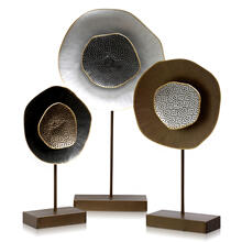 See Details - BLACK BRONZE & SILVER  22ht 17ht 14ht X 12w X 4d  Set of 3 Metal Scupltures on Metal Pedestal Stan