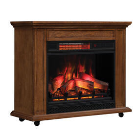 duraflame® Rolling Mantel with Infrared Quartz Electric Fireplace, Premium Oak