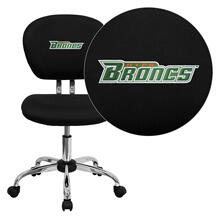 Texas - Pan American Broncs Embroidered Black Mesh Task Chair with Chrome Base