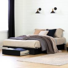 Platform Bed with Drawer - Pure Black