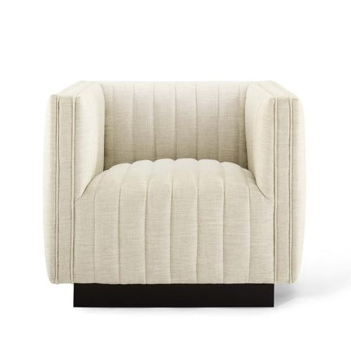 Conjure Tufted Armchair Upholstered Fabric Set of 2 in Beige