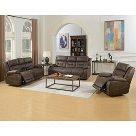 Aria Saddle Brown 3 Piece Dual Power Motion Set(Sofa, Loveseat & Chair)
