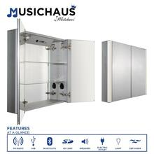 See Details - Musichaus Double Mirrored Door Medicine Cabinet with USB, SD Card, Bluetooth, FM radio, Speakers, Defogger, & Dimmer