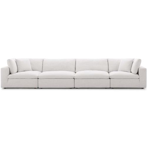 Commix Down Filled Overstuffed 4 Piece Sectional Sofa Set in Beige