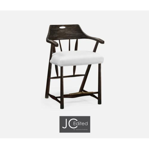 Smokers Style Dark Ale Counter Stool, Upholstered in COM