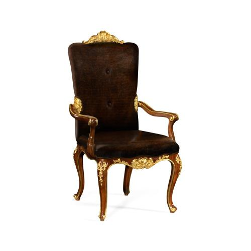 Dining Armchair with Gilt Carved Detailing, Upholstered in Caviar Black Leather