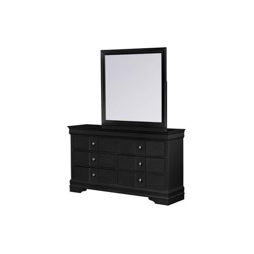 Wave Dresser W/Mirror, Black