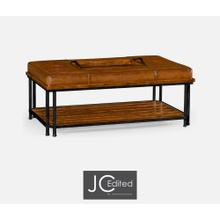 See Details - Country walnut cocktail ottoman