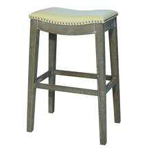 Elmo Bonded Leather Bar Stool Mystique Gray Frame, Beige