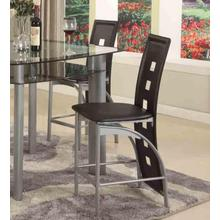 "Metal Contemporary 24"" Counter Height Chairs in Black Set of 2"