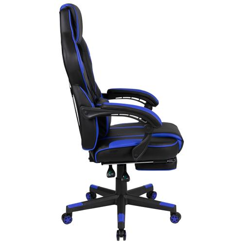 Gallery - X40 Gaming Chair Racing Ergonomic Computer Chair with Fully Reclining Back\/Arms, Slide-Out Footrest, Massaging Lumbar - Black\/Blue