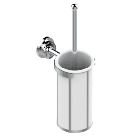 Wall mounted WC brush and porcelain holder with platinum decor