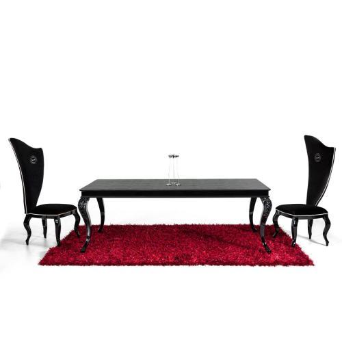 A&X Sovereign Transitional Black Crocodile Dining Table w/ Black Gloss Legs