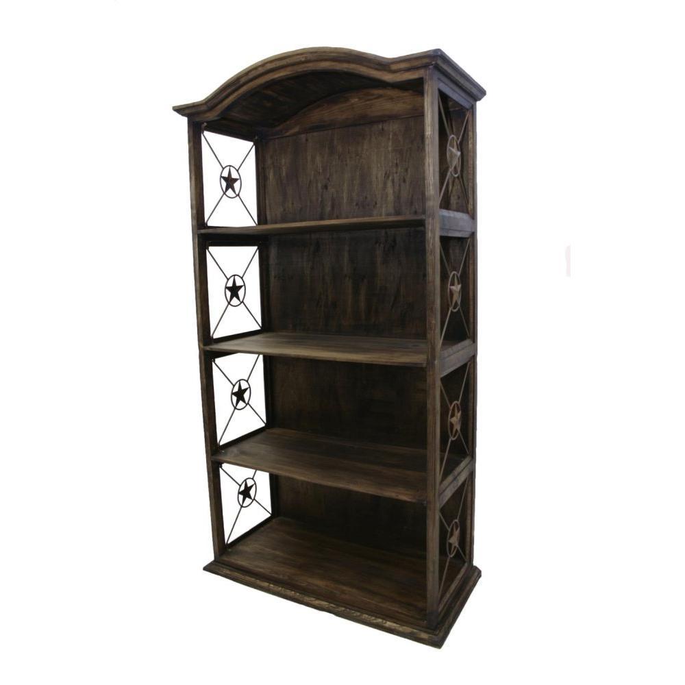 "See Details - 40"" Bookcase W/Iron Stars Medio Finish"