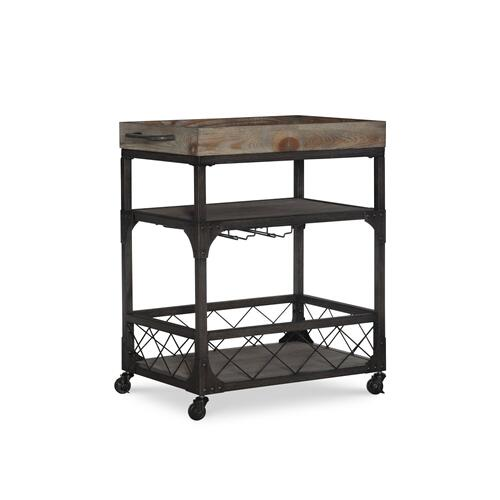 2-shelf and 4 Caster Wheels Bar Cart, Weathered Driftwood