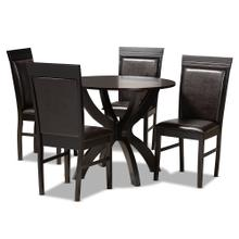 See Details - Baxton Studio Ancel Modern and Contemporary Dark Brown Faux Leather Upholstered and Dark Brown Finished Wood 5-Piece Dining Set
