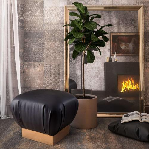 Tov Furniture - Lotus Black Ottoman