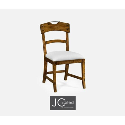 Planked Country Walnut Side Chair, Upholstered in COM