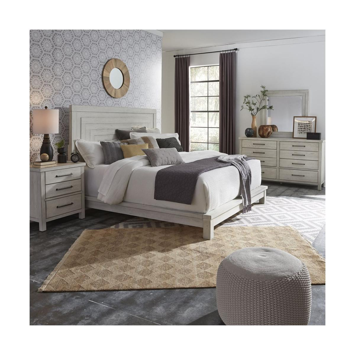 King California Platform Bed, Dresser & Mirror, Night Stand