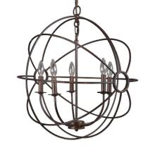 "24"" 5-Light Orb Chandelier in Rustic Black"