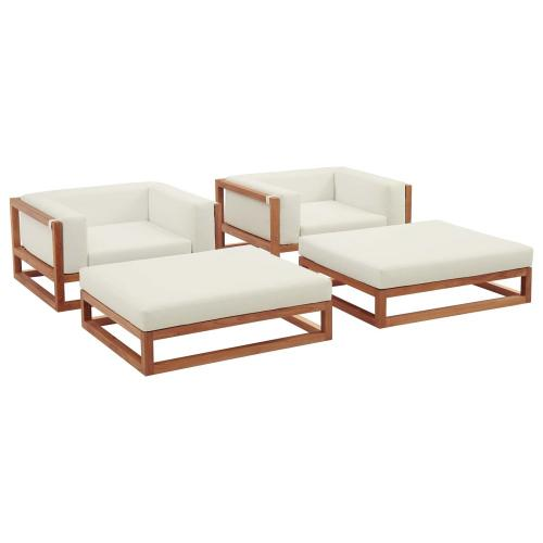 Newbury 4 Piece Outdoor Patio Premium Grade A Teak Wood Set in Natural White