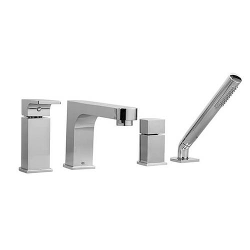 Equility Water Saving Deck Mount Bathtub Faucet with Hand Shower - Polished Chrome