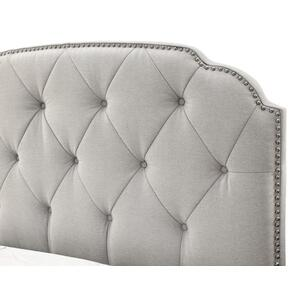 Tufted Upholstered Traditional Queen Bed in Soft Grey