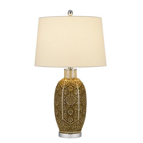 150W 3 way Olive ceramic table lamp with hardback taper fabric drum shade