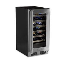 """See Details - 15"""" High Efficiency Single Zone Wine Cellar - Panel Overlay, Frame Ready Glass Door - Integrated Left Hinge"""