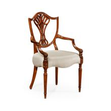 Sheraton Dining Arm Chair with Shield Back in Mahogany High Gloss, Upholstered in MAZO