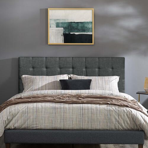 Modway - Paisley Tufted Twin Upholstered Linen Fabric Headboard in Gray