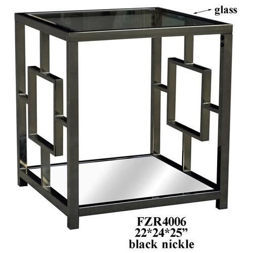 Crestview Collections - Bentley Chrome Rectangle Design End Table with Beveled Mirror Top